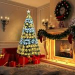 Double-color 7Ft Lights Fiber Optic Artificial Christmas Tree Pre-lit with Leds Lights Sturdy Metal Stand For Christmas Holiday Decor
