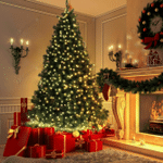 Artificial Christmas Trees 8ft 320 Tips With Leds Light Metal Stand For Christmas Holiday