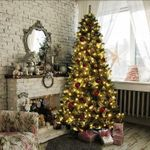 Artificial Christmas Tree 6ft/ 7ft/ 8ft For Christmas Decoration w/ Leds Lights with Metal Stand