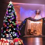 Artificial Christmas Trees 6ft 220 Tips With Leds Light Metal Stand For Christmas Holiday