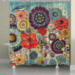Blue Bird Boho Shower Curtain Custom Design High Quality Bathroom Home Decor