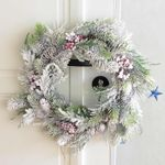 Artificial Snow Christmas Unlit Wreath 15.75'' With Pine Cones Berries For Home Decor