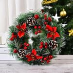 Artificial Christmas Unlit Wreath 16'' Flowers Pinecone Berries For Home Decor