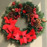 Artificial Christmas Unlit Wreath 15.75''- 23.6'' With Flowers For Home Decor