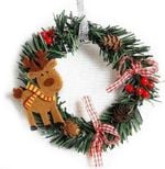 Artificial Reindeer Christmas Unlit Wreath 5.91'' With Pine Cones For Home Decor