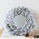 Artificial Simple Snow Christmas Unlit Wreath 15.75'' For Home Decor
