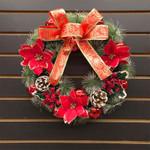 Artificial Christmas Unlit Wreath 15.75'' Handmade  For Home Decor