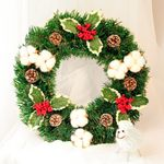 Artificial Christmas Unlit Wreath 15.75''- 23.6'' With Pine Cones And White Berries For Home Decor
