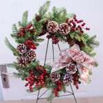 Artificial Rattan Christmas Unlit Wreath 19.7'' With Pine Cones Ribbon For Home Decor