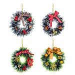 Artificial Christmas Unlit Wreath 4.72'' With Bell Star And Balls For Home Decor