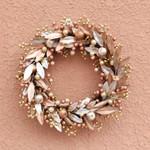 Artificial Gold Leaf Christmas Unlit Wreath 19.7'' For Home Decor
