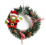 Artificial Bear Christmas Unlit Wreath 5.91'' With Pine Cones For Home Decor