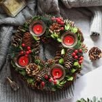 Artificial Christmas Wreath 11.8'' Candle Holder For Home Decor