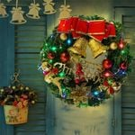 Artificial Christmas Unlit Wreath 15.75''- 23.6'' With Red Bow And Balls For Home Decor