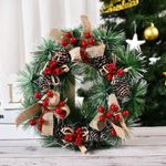 Artificial Christmas Unlit Wreath Pinecone Berries For Home Decor