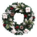 Artificial Christmas Unlit Wreath 23.6'' With Pine Cones Berries For Home Decor
