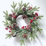 Artificial Christmas Unlit Wreath Sticky White Rattan With Pinecone For Home Decor