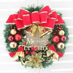 Artificial Christmas Unlit Wreath 11.8'' With Big Bow And Bell For Home Decor