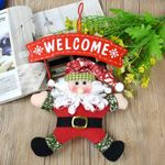 Artificial Christmas Wreath Hanging Door Santa Santa Claus Doll For Home Decor