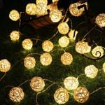 "Night Warm Rattan Ball String Light 20 Led 354"" For Christmas Holiday Decoration"