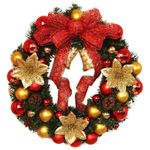 Artificial Christmas Unlit Wreath With Red Bow Flowers For Home Decor