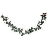 Artificial Christmas Unlit Holly Garland 61'' With Berries For Home Decor