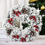 Artificial Snow Christmas Unlit Wreath Pinecone Berries For Home Decor