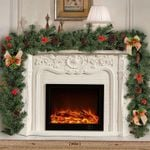 Artificial Christmas Unlit Garland 70.9'' With Bow Ribbon For Home Decor