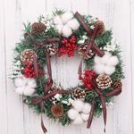 Artificial Christmas Unlit Wreath 11.8''- 19.6'' With Red Bow And Balls For Home Decor