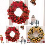 Artificial Red Christmas Unlit Wreath 15.75'' With Bow And Balls For Home Decor
