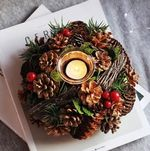 Artificial Christmas Candle Holder Wreath Pine Cone Berries For Home Decor