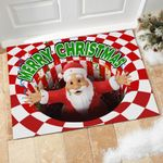 Santa Merry Christmas Illusion Doormat Home Decor