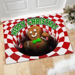 Gingerbread Man Illusion Doormat Christmas Home Decor