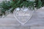 First Christmas Together Heart Glass Ornament, Engraved Heart Glass ornament, Custom Year