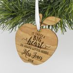 Custom Teacher Apple Engraved Ornament, Engraved Teacher Christmas Wood Ornament
