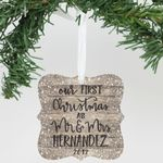 Aluminum Ornament - Our First Christmas As, Custom Name & Year