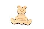 Teddy Bear Personalized Christmas Wooden Ornament