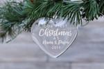 First Christmas as Nana & Papa Heart Glass Ornament Engraved Heart Glass