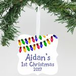 "Personalized Aluminum Christmas Ornament - ""First Name 1st Christmas"""