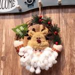 Artificial Santa Doll Unlit Wreath 7.8'' Fun Christmas Ornament For Home Decor