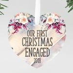 Our First Christmas Engaged Round Floral Ornament, Custom Ornament