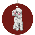 Poodle Dog Sunglasses Funny Christmas Tree Ornaments, Gifts for Dog Puppy Lovers