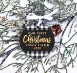 First Christmas Together Ornament, Buffalo Check Christmas Custom Year Ornament
