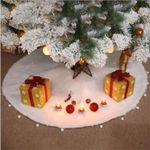 Pure White Long Hair Christmas Tree Skirt For Christmas Decoration