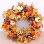 Autumn Thanksgiving Day Unlit Wreath 19.7'' For Home Decor