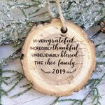 Personalized Grateful Tree Slice Wooden Ornament Tree Slice Christmas
