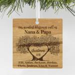 "Personalized Engraved Grandparents Christmas Wood Ornament, Custom Christmas Ornament ""Nana & Papa"""