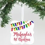 """Personalized Aluminum Ornament - """"First Name 1st Christmas 2017"""""""