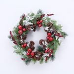 Red Ornaments w/ Pinecone Berries Artificial Christmas Wreath-16-Inch, Unlit