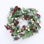 Golden Artificial Christmas Wreath w/ Pinecone Berries, and Ornaments-16-Inch, Unlit